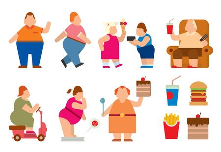 obesidad: La gente gorda vector iconos planos silueta. La gente gorda cuerpo iconos símbolo. La gente gorda silueta. problemas de la gente gorda. grasa hombre, mujer, niños niños. La gente gorda de alimentos, deporte, problemas