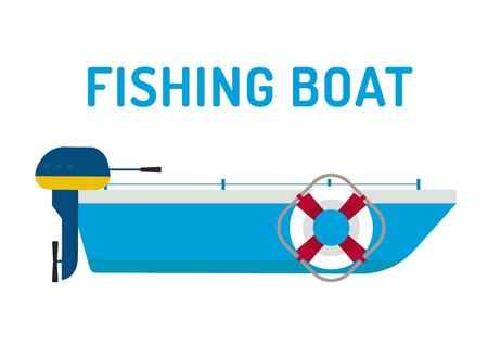 Vissersboot schip vector illustratie. Vissersboot vlakke stijl, visserij schip silhouet. Vissersboot en visserij schip vector. Vissen symbolen. Vissen design elementen. Zeevisserij hobby boat