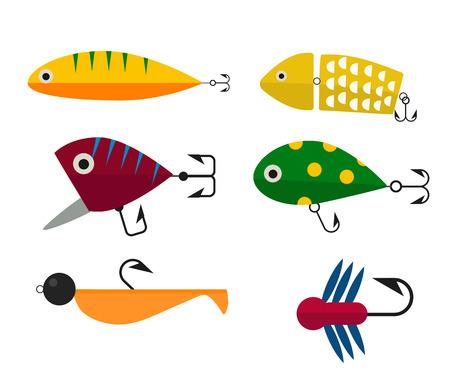 Fishing anchors icons vector illustration. Fishing tools, fishing hooks, fishing icons. Fishing boat and fishing anchors. Fishing symbols. Fishing design elements. Fishing hobby icons