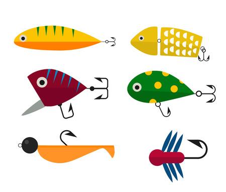 Fishing anchors icons vector illustration. Fishing tools, fishing hooks, fishing icons. Fishing boat and fishing anchors. Fishing symbols. Fishing design elements. Fishing hobby icons