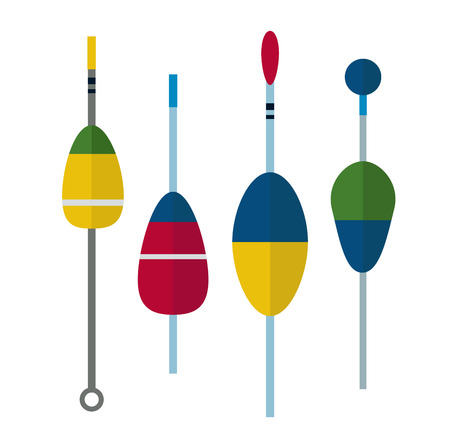 Fishing bobbers flat icons vector illustration. Fishing tools, fishing bobs, fishing icons. Fishing tools and fishing icons. Fishing symbols. Fishing design elements. Fishing hobby icons