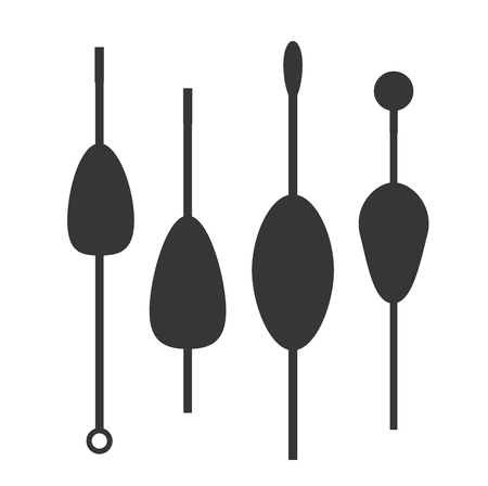 Fishing bobbers black flat icons vector illustration. Fishing tools, fishing bobs, fishing icons. Fishing tools and fishing icons. Fishing symbols. Fishing design elements. Fishing hobby icons