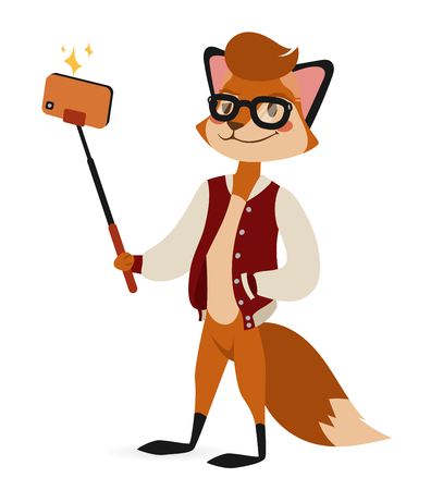 Selfie photo fox boy hipster with glasses vector portrait illustration on white background. Cartoon fox hipster, fox vector. Selfie shot fox teenager boy. Vector fox animal isolated. Fox boy hipster Illustration