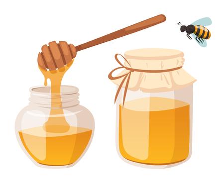꿀 은행 벡터 일러스트 레이 션. 양봉장 벡터 기호입니다. 꿀벌, 꿀, 꿀 은행, 벌집. 자연 꿀 건강 식품 생산. 꿀 은행입니다. 꿀벌, 꽃, 벌집 왁스