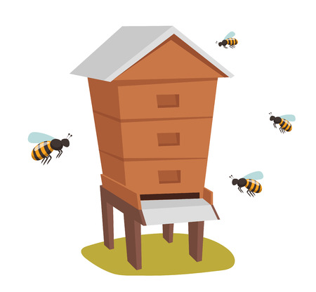 Apiary honey bee house apiary vector illustrations. Apiary vector symbols. Bee, honey, bee house, honeycomb. Honey natural healthy food production. Bee, flowers, beehive and wax Banco de Imagens - 49476654