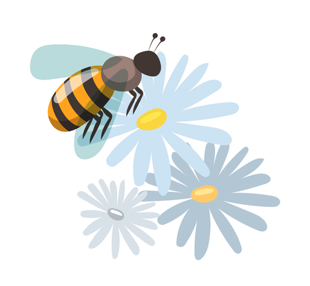 food production: Bee cartoon style vector illustrations. Apiary vector symbols. Bee, honey, bee flowers icons. Honey natural healthy food production. Bee, flowers, beehive and wax. Honey bee vector icon