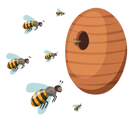 bee house: Apiary honey bee house apiary vector illustrations. Apiary vector symbols. Bee, honey, bee house, honeycomb. Honey natural healthy food production. Bee, flowers, beehive and wax