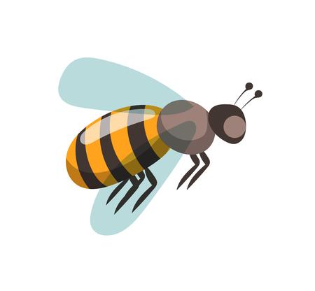 蜂漫画スタイルのベクトル イラスト。養蜂場のベクトル シンボル。蜂, 蜂蜜, 蜂花アイコン。蜂蜜の自然な健康食品の生産。蜂、花、蜂の巣、ワッ