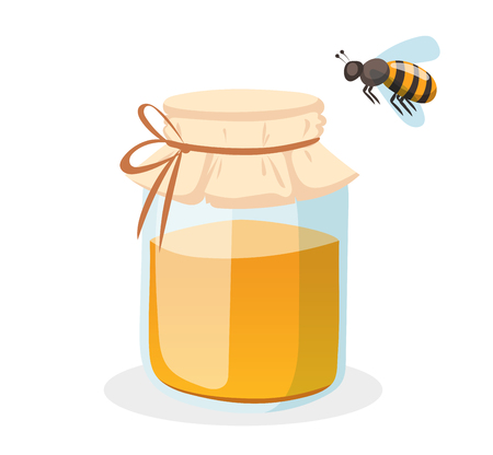 food production: Honey bank vector illustrations. Apiary vector symbol. Bee, honey, honey bank, honeycomb. Honey natural healthy food production. Honey bank isolated. Bee, flowers, beehive and wax Illustration