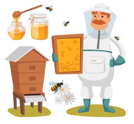 bee house: Apiary beekeeper vector illustrations. Apiary vector symbols. Bee, honey, bee house, honeycomb. Honey natural healthy food production. Man beekeeer costume. Bee, flowers, beehive and wax. Honey bee house apiary