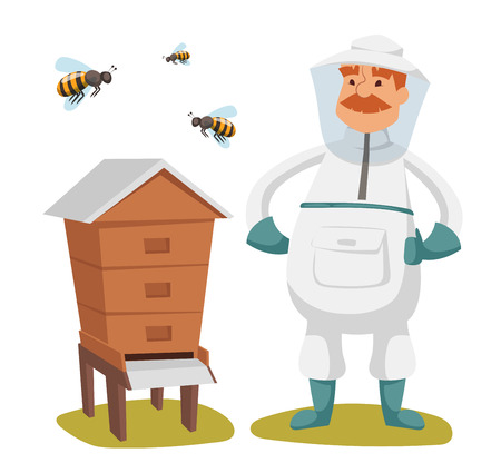 bee house: Apiary beekeeper vector illustrations. Apiary vector symbols. Bee, honey, bee house, honeycomb. Honey natural healthy food production. Man beekeeer special costume. Bee, flowers, beehive and wax. Honey bee house apiary