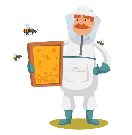 Apiary beekeeper vector illustrations. Apiary vector symbols. Bee, honey, bee house, honeycomb. Honey natural healthy food production. Man beekeeer special costume. Bee, flowers, beehive and wax. Honey bee house apiary