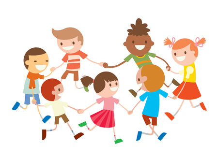 young people party: Children round dancing. Party dance in baby club illustration. Childhood, cartoon, fun and party. Kids dance around.  Roundelay baby dance party. Fun, smile, boys and girls. Greeting card