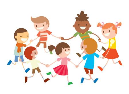 ni�os bailando: Los ni�os completan el baile. danza del partido en la ilustraci�n del beb� club. La infancia, dibujo animado, diversi�n y fiesta. Los ni�os bailan alrededor. fiesta de la danza del beb� con estribillo. Diversi�n, sonrisa, ni�os y ni�as. Tarjeta de felicitaci�n Vectores