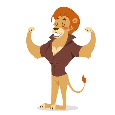 Teen lion power strong man illustration on white background. Cartoon lion sportsman, lion man vector. Lion hipster. Vector lion isolated. Lion like strong man with human body