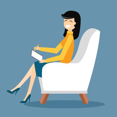 心理学者オフィス キャビネット部屋ベクトル イラスト。心理学者の心理療法セッションを持ちます。心理学者のオフィスのイラスト。心理療法セッ
