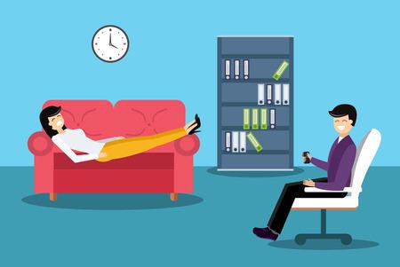 terapia psicologica: Psicólogo del gabinete oficina de la ilustración vectorial habitación. Psicólogo tener sesión de terapia psicológica. Ilustración oficina Psicólogo. Psicológica ilustración sesión de terapia. La terapia psicológica Vectores