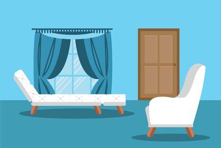 Modern living room interior vector illustration. Room background illustartion. Vector door, vector sofa. Living room blue colors. Modern living room interior flat syle