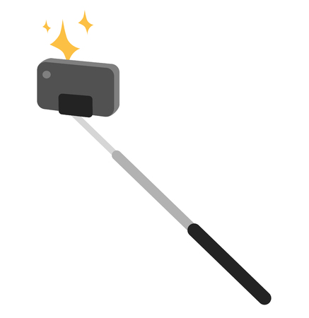 extensible: Selfie stick vector icon illustration. Selfie stick isolated on white background. Selfie stick photo camera isolated. Selfie stick tools for selfie photo camera