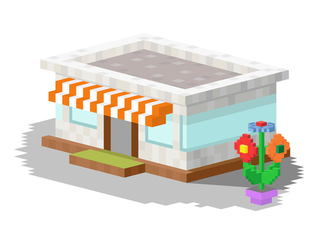 house windows: Shop market building vector illustration. 3d shop store building isolated on white background. Shop store kiosk 3d building. Shop vector, shop building. 3d isometric view building vector construction shop store
