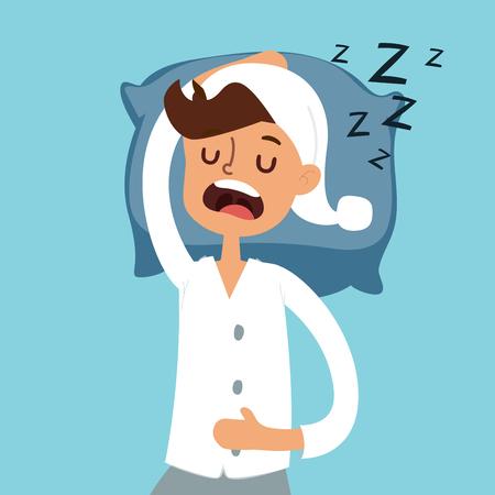 Hombre durmiendo en mal ilustración vectorial. Hombre durmiente silueta. Dormir personas del vector. Tiempo de mañana. Hombre que duerme en pijama. Noche o mañana, hora de profundo. La gente duerme, alarmas