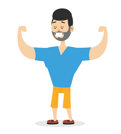 big cartoon: Teen power strong man athlete illustration on white background. Cartoon sportsman, man vector. Young bearded man hipster. Vector bearded athlete man isolated. Strong human body