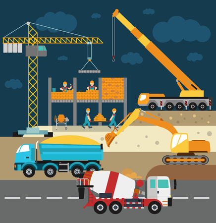 job site: Building under construction, workers and construction technics vector illustration. Building mixer truck, crane vector. Under construction vector concept. Workers in helmet, construction machine isolated Illustration