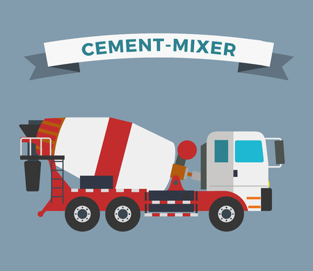 technics: Building under construction cement mixer machine machine technics vector illustration. Building cement mixer machine truck vector. Under construction vector concept. Mixer vector isolated