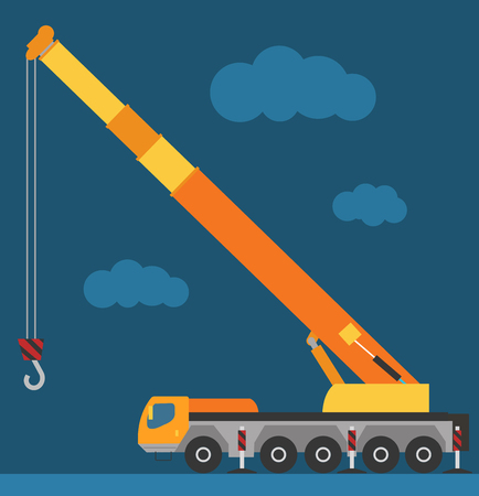 Building under construction crane machine technics vector illustration. Building crane machine  truck vector. Under construction vector concept. Crane machine vector isolated