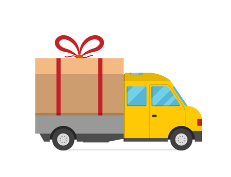 transport truck: Delivery vector transport truck van Christmas gift box bow ribbon. Delivery service van New Year greeting card. Delivery truck, gift box. Wedding box, birthday box. New Year hipping transport icon