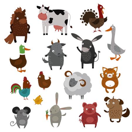 jabali: Granja de animales domésticos vector de la historieta. Animales de granja en casa del vector. Animales bonitos. Mascotas silueta. Los animales del vector. Vaca, el gato y el perro. Las ovejas y el cerdo, conejo, ratón, pájaros de cabra