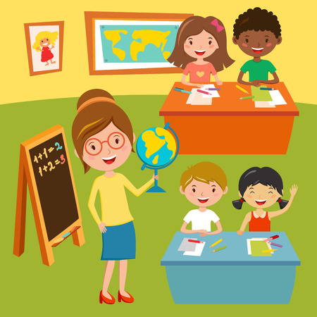 teacher classroom: Kids school or baby club lessons. Geographic teacher at classroom. Children sitting on desk. Kids school vector illustration. Boys and Girls vector cartoon illustration