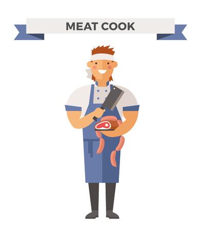 cartoon kitchen: Vector de cocina Chef ilustración vectorial. De dibujos animados cocinero chef icono. Cocinero del restaurante sombrero de chef y cocinar uniforme. cocineros vector, cocineros uniforme, cocineros chefs, jefes de cocina, cocinero aislados personas. trabajo profesiones