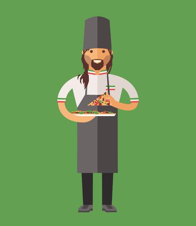 cook cartoon: Vector cooking chef vector illustration. Cartoon cook chef icon. Restaurant cook chefs hat and cook uniform. Vector cooks, cooks uniform, cooks chefs, chefs isolated, cook people. Professions job Illustration