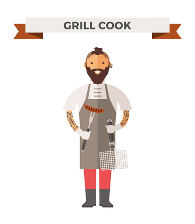 cook cartoon: Vector cooking chef vector illustration. Cartoon cook chef icon. Restaurant cook chefs hat and cook uniform. Vector cooks, cooks uniform, cooks chefs, chefs isolated, cook people. Professions job Illustration