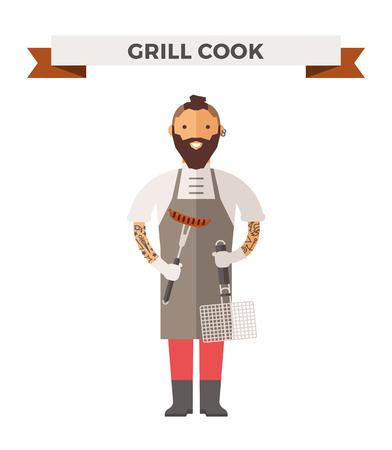 chef: Vector de cocina Chef ilustración vectorial. De dibujos animados cocinero chef icono. Cocinero del restaurante sombrero de chef y cocinar uniforme. cocineros vector, cocineros uniforme, cocineros chefs, jefes de cocina, cocinero aislados personas. trabajo profesiones