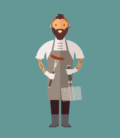 chef italiano: Vector de cocina Chef ilustraci�n vectorial. De dibujos animados cocinero chef icono. Cocinero del restaurante sombrero de chef y cocinar uniforme. cocineros vector, cocineros uniforme, cocineros chefs, jefes de cocina, cocinero aislados personas. trabajo profesiones