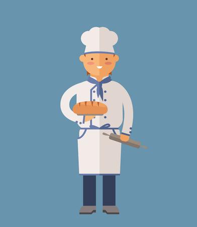 cocinero: Vector de cocina Chef ilustración vectorial. De dibujos animados cocinero chef icono. Cocinero del restaurante sombrero de chef y cocinar uniforme. cocineros vector, cocineros uniforme, cocineros chefs, jefes de cocina, cocinero aislados personas. trabajo profesiones