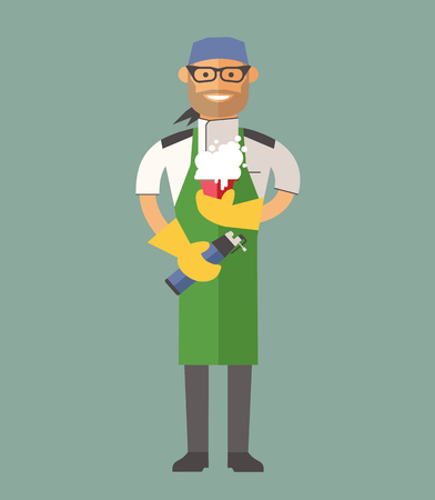 cartoon dinner: Vector cooking chef vector illustration. Cartoon cook chef icon. Restaurant cook chefs hat and cook uniform. Vector cooks, cooks uniform, cooks chefs, chefs isolated, cook people. Professions job Illustration