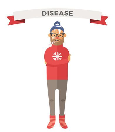 hot boy: People ill vector illustration. Seasonal virus attack. People illness, people sick. People cold illustration. People unwell need medical help. Virus, health, fever people silhouette. People unwell Illustration