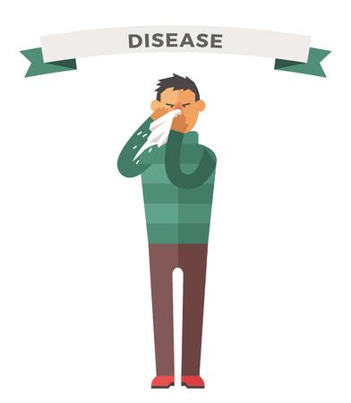 personas enfermas: Gente ilustraci�n vectorial enferma. Ataque de virus estacional. Gente enfermedad, la gente se enferme. Gente ilustraci�n fr�a. Gente malestar necesitan ayuda m�dica. Virus, la salud, las personas fiebre silueta. Gente unwell