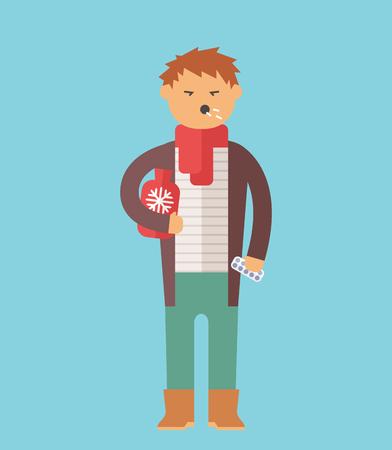 People ill vector illustration. Seasonal virus attack. People illness, people sick. People cold illustration. People unwell need medical help. Virus, health, fever people silhouette. People unwell Illustration
