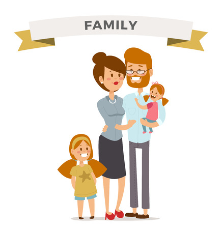 family together: Small girl, woman and man happy family couple. Women and men in love, modern family, families with baby kid. Modern family portrait. Typical family. People couple, people family together concept Illustration