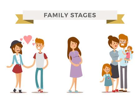homme enceinte: Petite fille, gar�on et une fille adulte en couple, les femmes enceintes dans l'amour, les familles de la famille moderne avec Kid b�b�. Stades de la famille moderne. Famille typique. Personnes couples, les personnes isol�es famille vecteur. Les gens