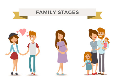 Small girl, adult boy and girl couple, pregnant women in love,modern family families with baby kid. Modern family stages. Typical family. People couples, people family isolated vector. People together