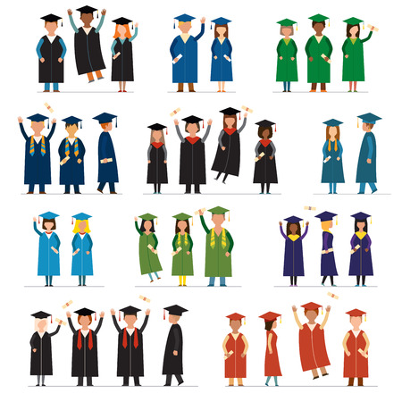college: Graduate people flat silhouette vector icons. Graduation university flat people icons. Flat graduate education people icons isolated. Graduation education dress people icons
