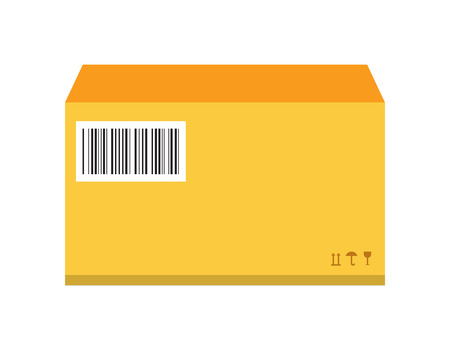 moving office: Move service yellow box pack vector illustration. Move box service. Craft yellow box delivery service. Box moving, close box. Move business, moving box, delivery box. Transport mail pack