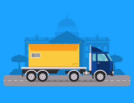 transport of goods: Delivery vector transport truck van and gift box pack. Delivery service van, delivery truck, delivery car. Delivery box silhouette. Product goods shipping transport. Fast delivery Illustration