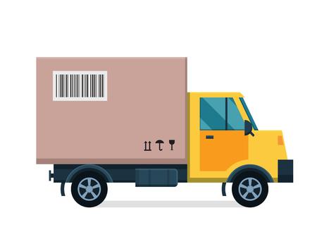 配信ベクトル輸送トラック バン ギフト ボックス パック。白で隔離。デリバリーバン サービス、配達用トラック、配送車。配信ボックス シルエッ