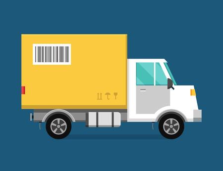 camion: Vector Entrega cami�n de transporte van y caja de regalo paquete. Furgoneta de salida de servicio, cami�n de reparto, coche entrega. Caja Entrega silueta. PRODUCTOS transporte del env�o. Entrega r�pida